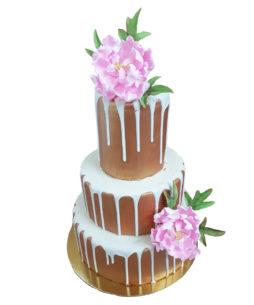 tort nunta bujori roz