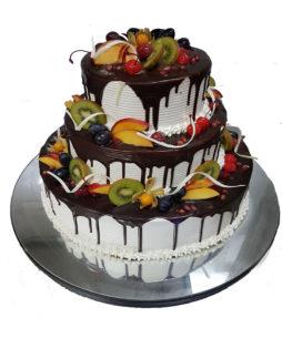 tort mixt 3 etaje cu fructe
